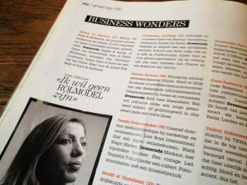 De MarieClaire gaf me een plek ik de top 10 Businesswonders (maart 2012) .
