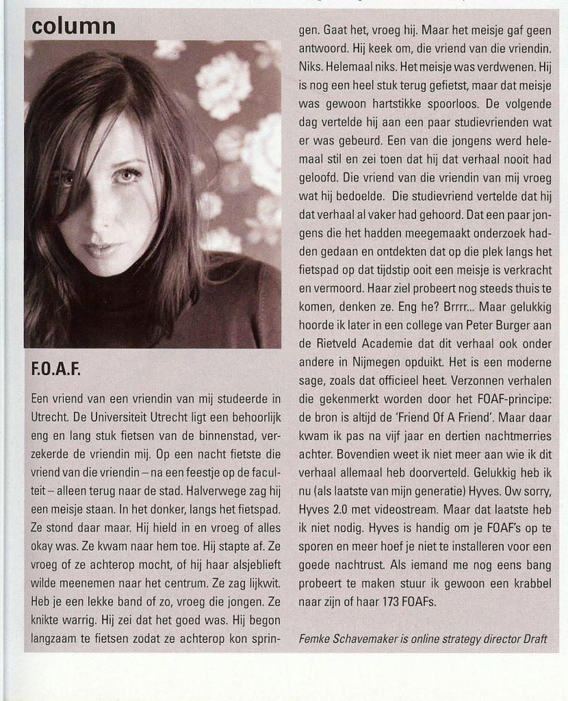 Column in Reclameweek, juni 2006