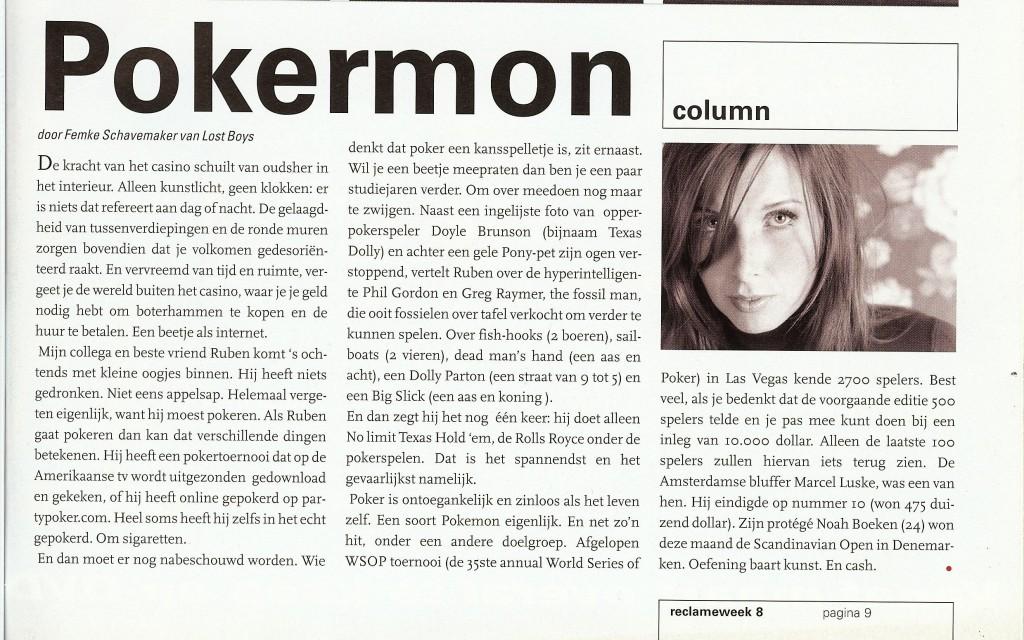 Column in Reclameweek, maart 2006